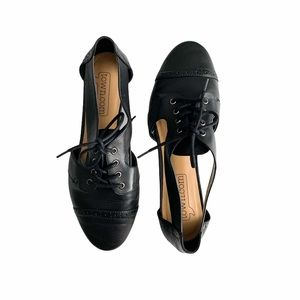 Town Leather Oxford Loafers With Cut Out Sides